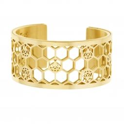 Bracelet jonc Méli Versa en acier doré 30mm
