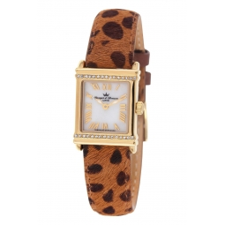 Montre femme, boîte en acier doré, nacre et cristaux de synthèse, bracelet en cuir et crin et verre minéral