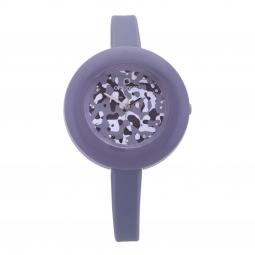 Montre femme, boîte acier et polycarbonate, bracelet silicone, verre plastique