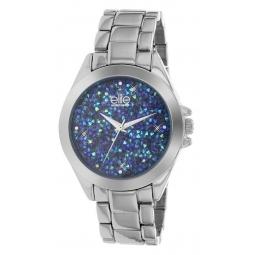 Montre femme, boîte en métal et cristaux de synthèse, bracelet en métal et verre minéral