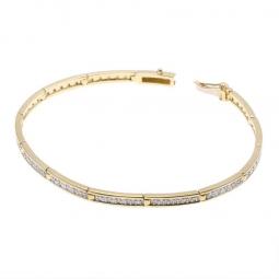 Bracelet barrettes en or jaune et rhodié, diamants, 18 cm