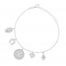 Bracelet en argent rhodié et oxydes de zirconium, pampilles