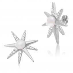 Boucles d'oreilles en argent rhodié, perle de culture et oxydes de zirconium, étoile