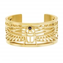 Bracelet jonc Méli Versa en acier doré et oxyde de zriconium, 30 mm