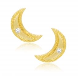 Boucles d'oreilles en or jaune et oxyde de zirconium, lune