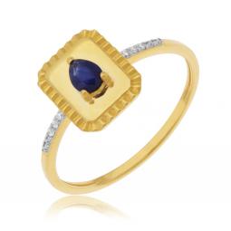 Bague en or jaune et rhodié, diamants et saphir