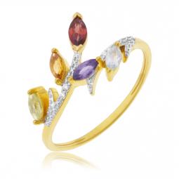 Bague en or jaune et rhodié, diamants, péridot, citrine, grenat, cordiérite et aigue marine