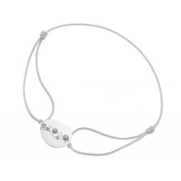 Bracelet cordon en or gris et laque pailletée