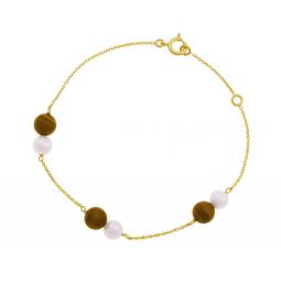 Bracelet en or jaune, oeil de tigre et perles de culture
