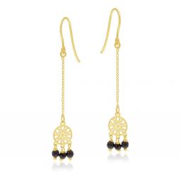 Boucles d'oreilles en or jaune et cristaux de synthèse, attrappe rêve