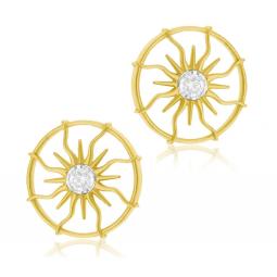 Boucles d'oreilles en or jaune et rhodié, diamant