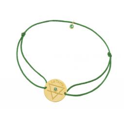Bracelet en or jaune, cordon et oxydes de zirconium, Terre