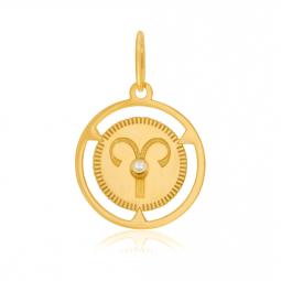 Pendentif zodiaque en or jaune et diamant, bélier