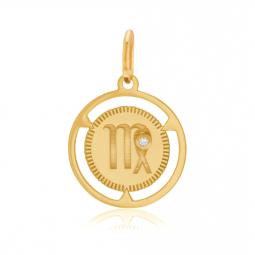 Pendentif zodiaque en or jaune et diamant, vierge