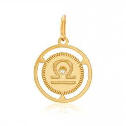 Pendentif zodiaque en or jaune et diamant, balance