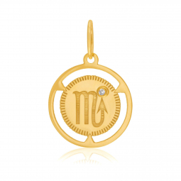 Pendentif zodiaque en or jaune et diamant, scorpion