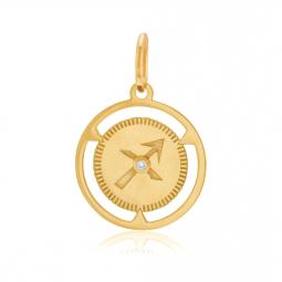 Pendentif zodiaque en or jaune et diamant, sagittaire