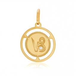 Pendentif zodiaque en or jaune et diamant, capricorne