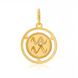 Pendentif zodiaque en or jaune et diamant, verseau