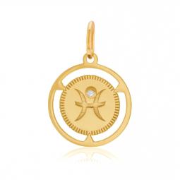 Pendentif zodiaque en or jaune et diamant, poissons